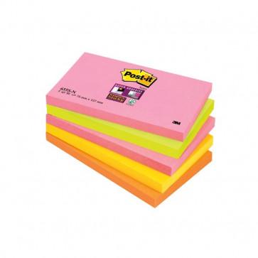 Post-it® Super Sticky Neon 76x127 mm arancione, rosa, verde, corallo, giallo oro 655S-N