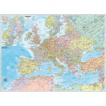 Carta geografica murale Belletti Europa 99x132 cm aste in legno M03PL/07