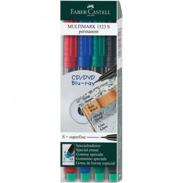 Marcatore permanente Multimark Faber Castell Punta fine assortiti 0,6 mm 151304 (conf.4)