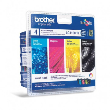 Orig. Brother LC-1100HYVALBP Conf. 4 cart. inkjet alta resa blister SERIE 1100 nero+ciano+magenta+giallo