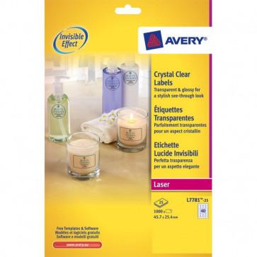Etichette lucide invisibili Avery 40 45,7x25,4 mm 190 g/mq L7781-25 (conf.25)