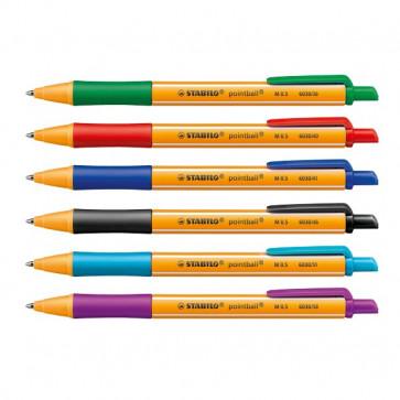 Penna a sfera a scatto Pointball Stabilo assortiti 1,2 mm 6030/6 (conf.6)