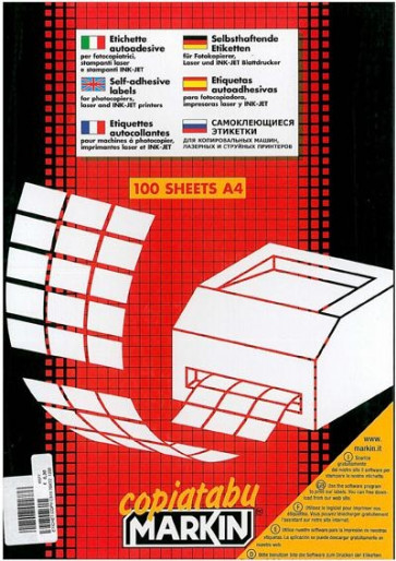 Etichette bianche multiuso Markin 63,5x38,1 mm - 21 etich/ff. A4 - X210A410 (conf.100)