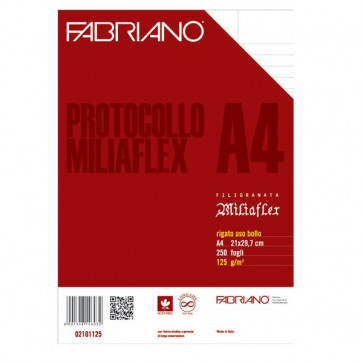 Fogli protocollo filigranati Miliaflex Fabriano per stampanti 125 g/mq 02101125 (conf.250)