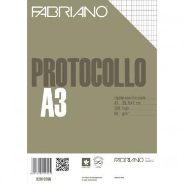 Fogli protocollo Fabriano standard rigato commerciale 66 g/mq 02910566 (conf.200)