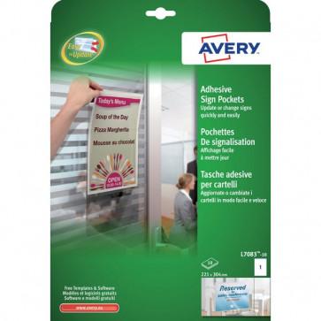 Tasche adesive in plastica trasp. per cartelli Avery 221x304 mm 1 etich/ff L7083-10 (conf.10)