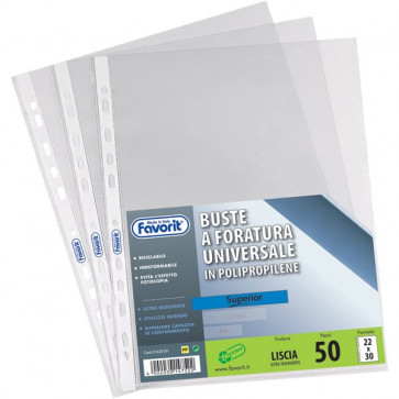Buste a foratura universale Liscio Super Clear Favorit Superior 21x29,7 cm 01016001 (conf.50)