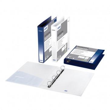 Raccoglitori personalizzabili Europa Favorit 4 anelli Ø 25 mm R 22x30 cm blu 06420314