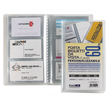Portabiglietti da visita personalizzabile Favorit- 12,5X20,5 cm 60 biglietti trasparente 08324001