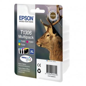 Originale Epson C13T13064010 Conf. 3 cartucce inkjet ink pigmentato blister RS Cervo-XL T1306 c+m+g