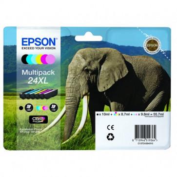 Originale Epson C13T24384010 Conf. 6 cartucce A.R. RS Claria Photo HD 24XL/ELEFANTE 6 colori