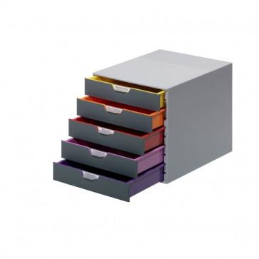 Cassettiere da scrivania Varicolor® Durable grigio e multicolore 5 cassetti 5 cm 7605-27
