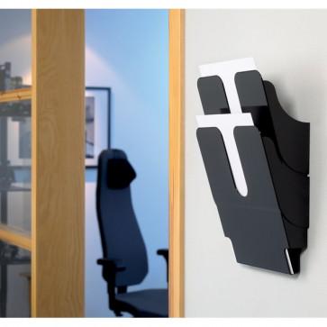 Portadepliant da parete Flexiplus Durable Da parete 2 scomparti A4 24,7x10x36 cm nero 1709008060