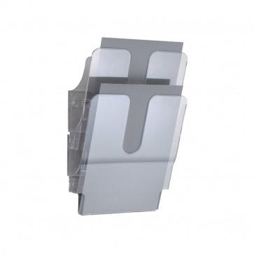 Portadepliant da parete Flexiplus Durable Da parete 2 scomparti A4 24,7x10x36 cm trasparente 1709008400