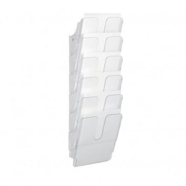 Portadepliant da parete Flexiplus Durable Da parete 6 scomparti A4 24,7x10x74,5 cm trasparente 1700008401