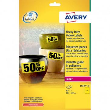 Etichette in poliestere Avery laser gialle 99,1x139 cm 4 L6127-20 (conf.20)