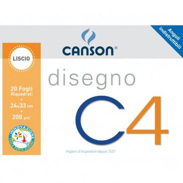 Album da disegno C4 Canson Liscio riquadrato 24x33 cm 200 g/mq 20 100500451