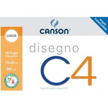 Album da disegno C4 Canson Liscio riquadrato 33x48 cm 200 g/mq 20 100500454