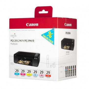 Originale Canon 4873B005 Conf. 6 serbatoi inchiostro Chromalife 102 PGI-29 C/M/Y/PC/PM/R ciano, magenta, giallo, photo ciano, photo magenta, rosso