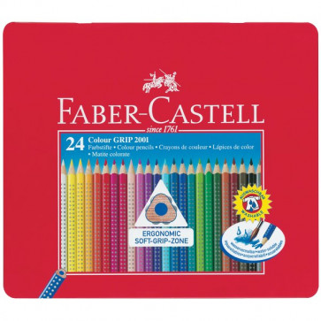 Matite Colorate Acquerellabili Colour Grip Faber Castell Astuccio Metallo 112423 (Conf.24)