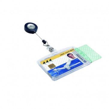 Portabadge doppia tessera Durable chiocciola con clip 5,4x8,5 cm 80 cm 8224-19 (conf.10)