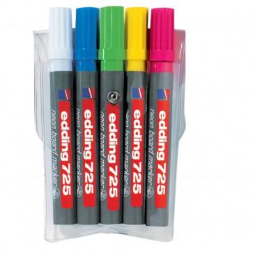 Marcatore per lavagne fluorescente e-725 Edding assortiti scalpello 2-5 mm e-725 5s (conf.5)
