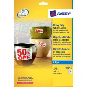 Etichette poliestere per stampanti inkjet Avery 64,6x33,8 mm 24 et/ff J4773-10 (conf.10)
