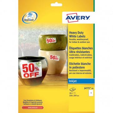 Etichette poliestere per stampanti inkjet Avery 210x297 mm 1 et/ff J4775-10 (conf.10)