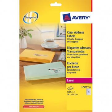 Mini etichette Avery Laser trasparente 38,1x21,2 mm 65 et/ff L7551-25 (conf.25)