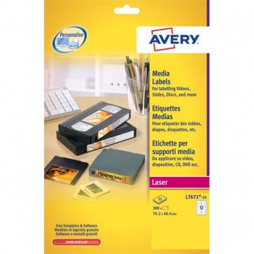 Etichette per supporti multimediali Avery 46x11,1 mm 84 et/ff L7656-25 (conf.25)