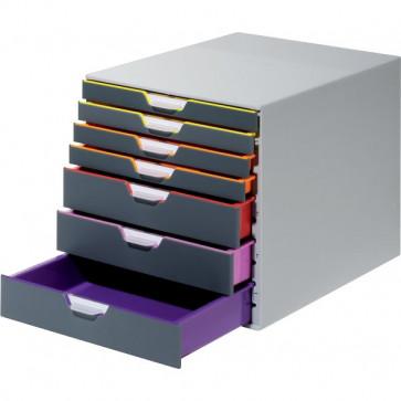 Cassettiere Da Scrivania Varicolor® Durable Grigio E Multicolore 7 2,5 / 5 Cm 7607-27