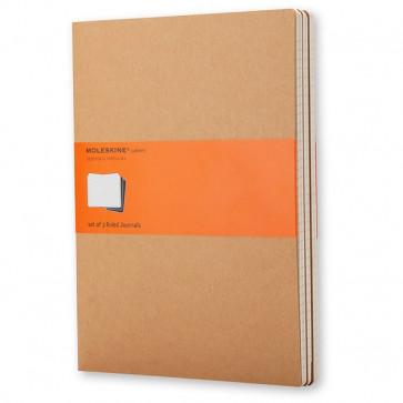 Set 3 Quaderni Con Copertina Avana Moleskine Large (13X21 Cm) A Righe 80 Qp416 (Conf.3)