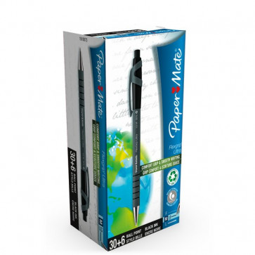 Penna A Sfera A Scatto Flexgrip Ultra Recycled Papermate Value Pack Nero 1910073 (Conf.36)