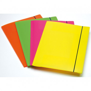 Cartella A 3 Lembi Fluo Con Elastico In Ppl Fellowes Assortito 1028001 (Conf.4)