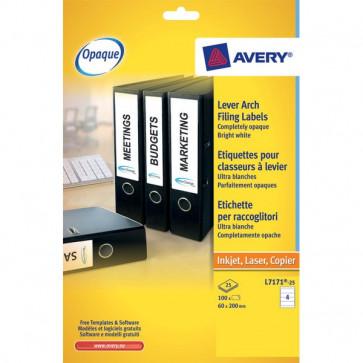 Etichette per raccoglitori Avery Laser 200x60 mm 4 L7171-25 (conf.25)