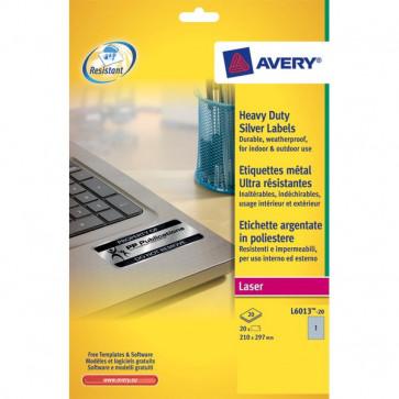 Etichette poliestere bianco e argento Laser Avery argento 210x297 mm 1 L6013-20 (conf.20)