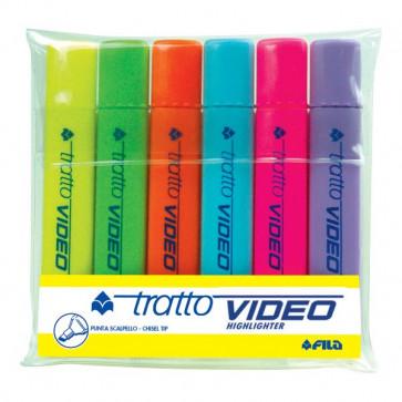 Evidenziatore Tratto Video -giallo,verde,arancio,azzurro,rosa,lilla- 1- 5 mm 831000 (conf.6)