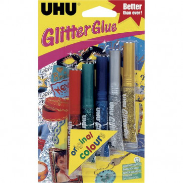 Glitter Glue UHU Original assortiti 10 ml D1550/D1549 (conf.6)