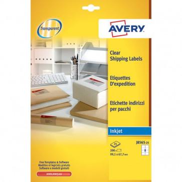 Etichette trasparenti QuickPEEL™ Avery Inkjet 99,1x67,7 mm 8 et/ff J8565-25 (conf.25)