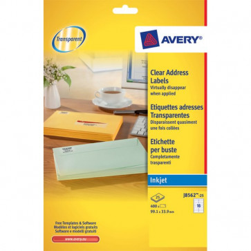 Etichette trasparenti QuickPEEL™ Avery Inkjet 99,1x33,9 mm 16 et/ff J8562-25 (conf.25)