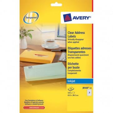 Etichette trasparenti QuickPEEL™ Avery Inkjet 63,5x38,1 mm 21 et/ff J8560-25 (conf.25)