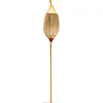 Scope per pulizia interni ed esterni La Piacentina - saggina, manico in legno - 0008