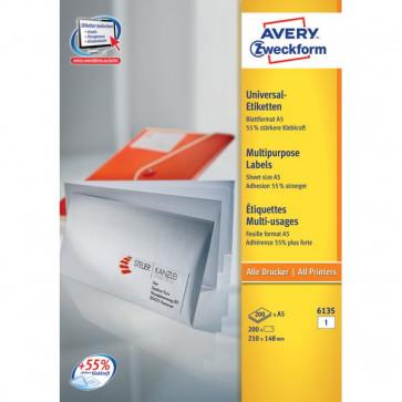 Etichette bianche per buste formato A5 Avery - 210x148 mm - 1 - 6135 (conf.200)