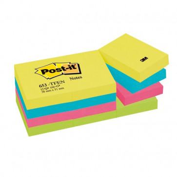 Post-it® Note Energy Post-It tinta unita 100 38x51 mm neon arcobaleno 653-TFEN (conf.12)