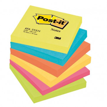 Post-it® Note Energy Post-It tinta unita 100 76x76 mm neon arcobaleno 654-TFEN (conf.6)