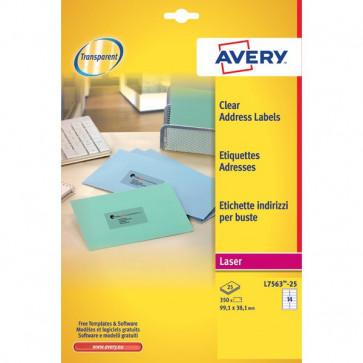 Etichette trasparenti QuickPEEL™ Avery Laser 99,1x38,1 mm 14 et/ff L7563-25 (conf.25)