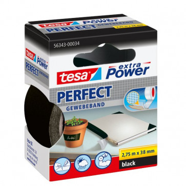 Nastro telato extra power Tesa 38 x 2,75 m nero 56343-00034-03