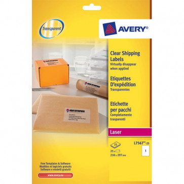 Etichette trasparenti QuickPEEL™ Avery Laser 210x297 mm 1 et/ff L7567-25 (conf.25)