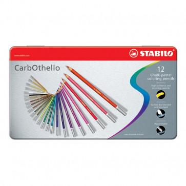 Matite colorate CarbOthello Stabilo - Scatola in metallo - 1412-6 (conf.12)