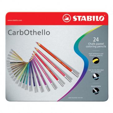 Matite colorate CarbOthello Stabilo - Scatola in metallo - 1424-6 (conf.24)